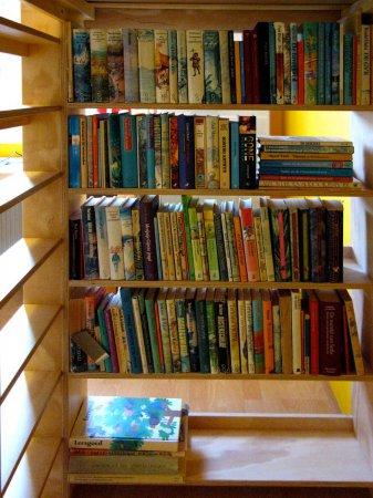 Boekenkast onder het bed en ruimte om te lezen